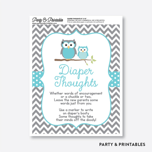 Owl Diaper Thoughts / Non-Personalized / Instant Download (SBS.50)