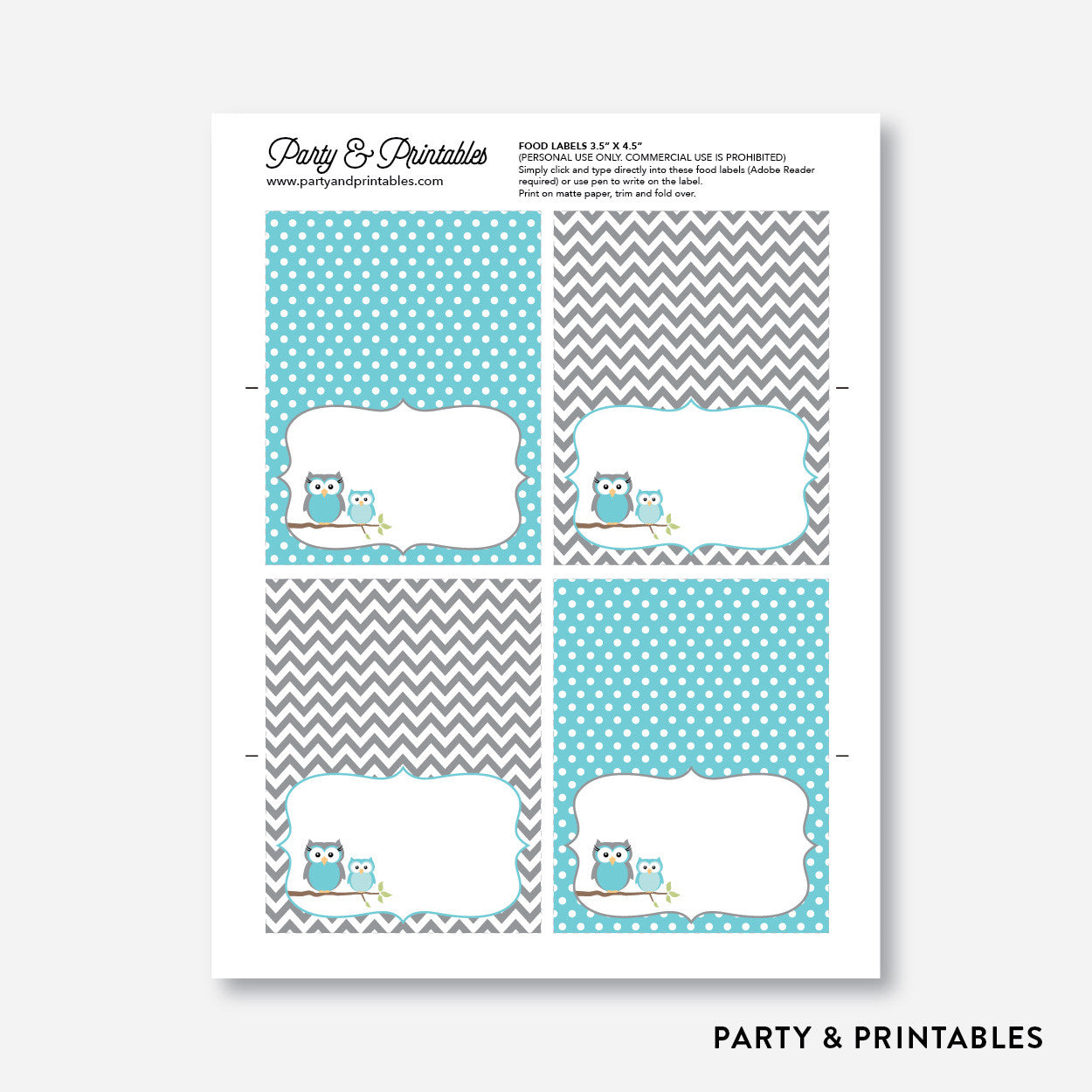 Owl Food Labels / Editable / Instant Download (SBS.50), party printables - Party and Printables