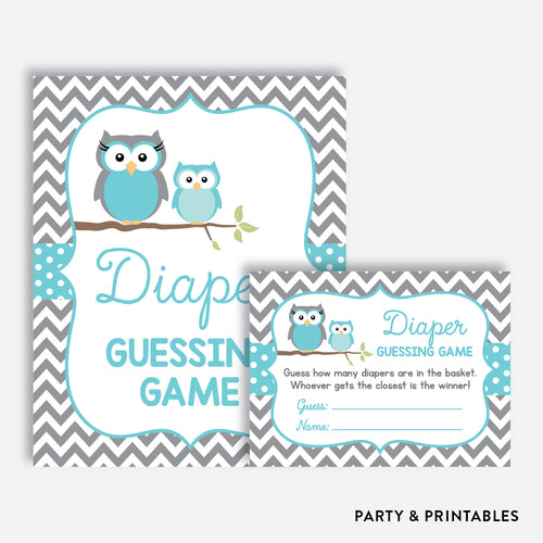 Owl Guess How Many Diapers / Non-Personalized / Instant Download (SBS.50)