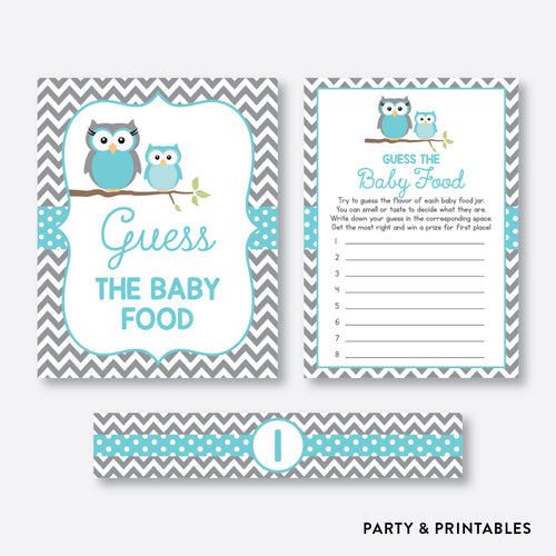 Owl Guess The Baby Food / Non-Personalized / Instant Download (SBS.50)