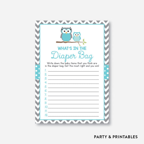 Owl Guess What's In Diaper Bag / Non-Personalized / Instant Download (SBS.50)