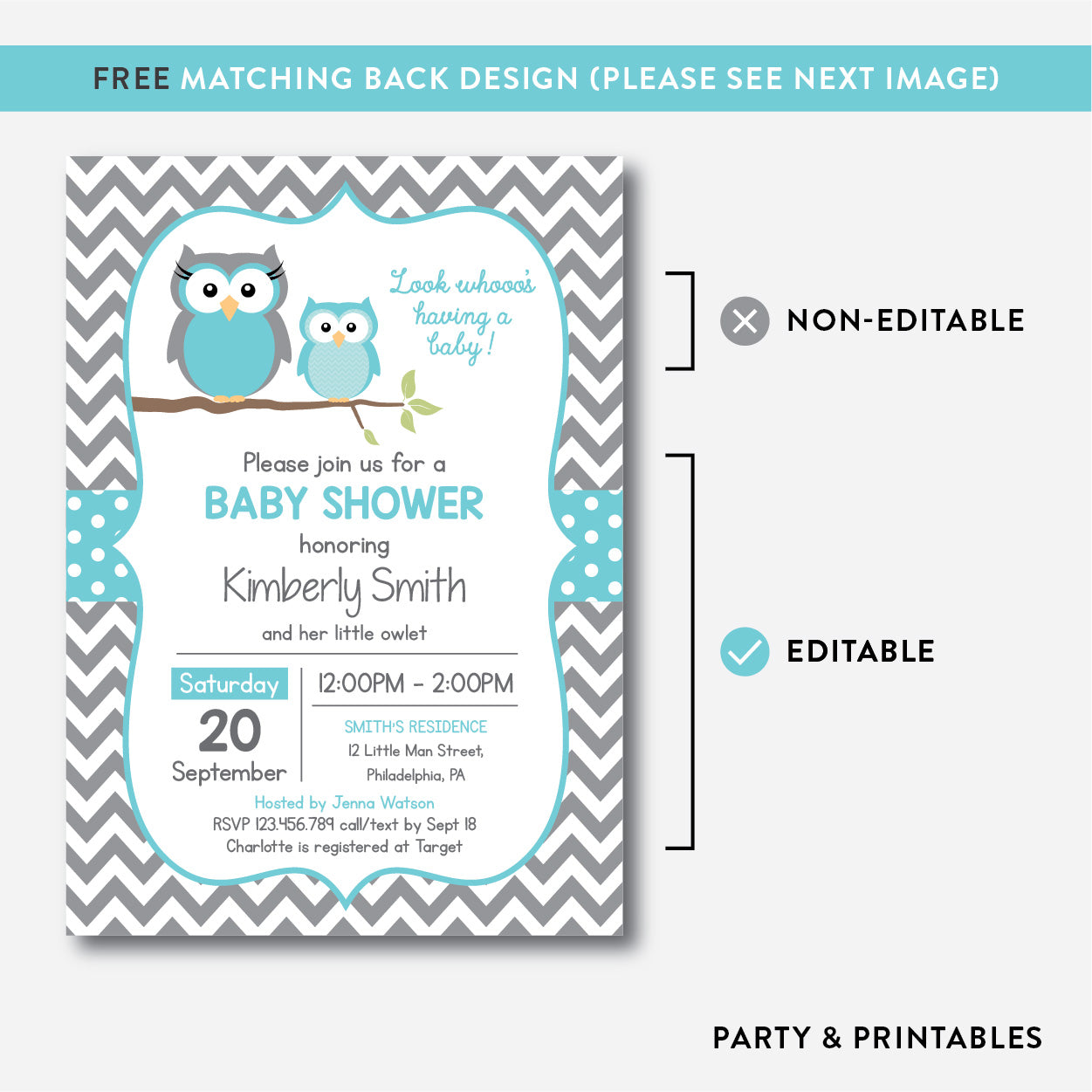 Owl Baby Shower Invitation / Editable / Instant Download (SBS.50)