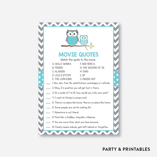 Owl Movie Quotes / Non-Personalized / Instant Download (SBS.50)