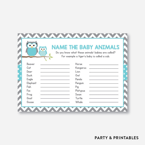 Owl Name The Baby Animals / Non-Personalized / Instant Download (SBS.50)
