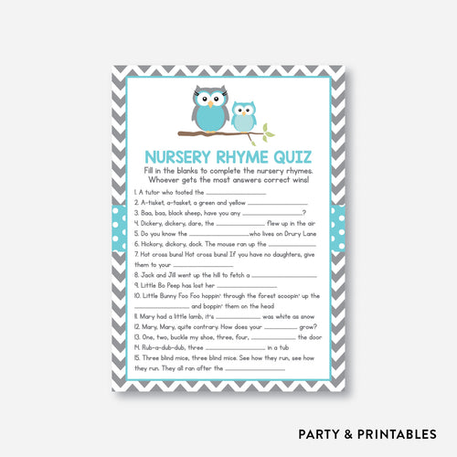 Owl Nursery Rhyme Quiz / Non-Personalized / Instant Download (SBS.50)
