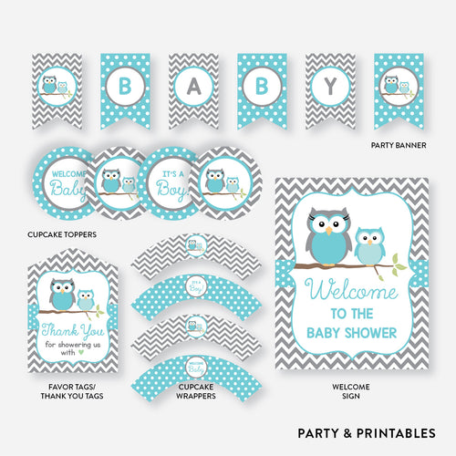 Owl Standard Baby Shower Party Package / Non-Personalized / Instant Download (SBS.50)