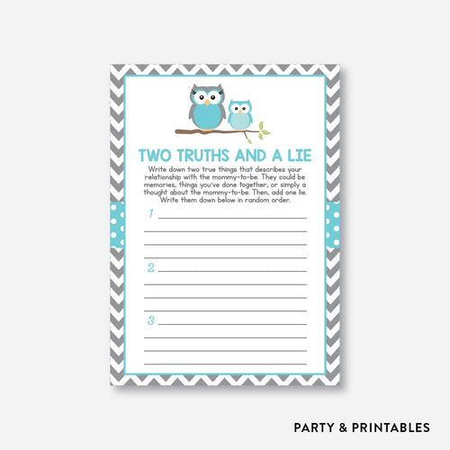 Owl Two Truths And A Lie / Non-Personalized / Instant Download (SBS.50)