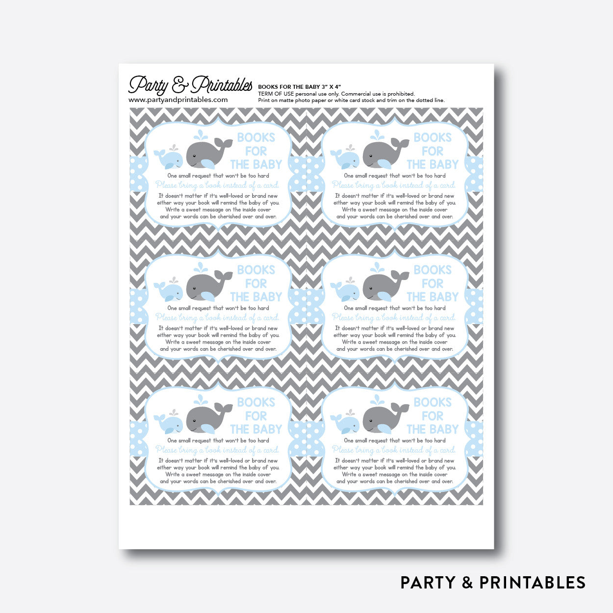 Whale Books For The Baby / Non-Personalized / Instant Download (SBS.51), party printables - Party and Printables