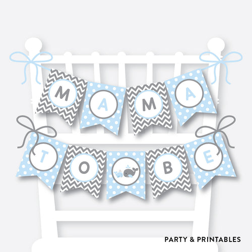 Whale Chair Banner / Baby Shower Banner / Non-Personalized / Instant Download (SBS.51)