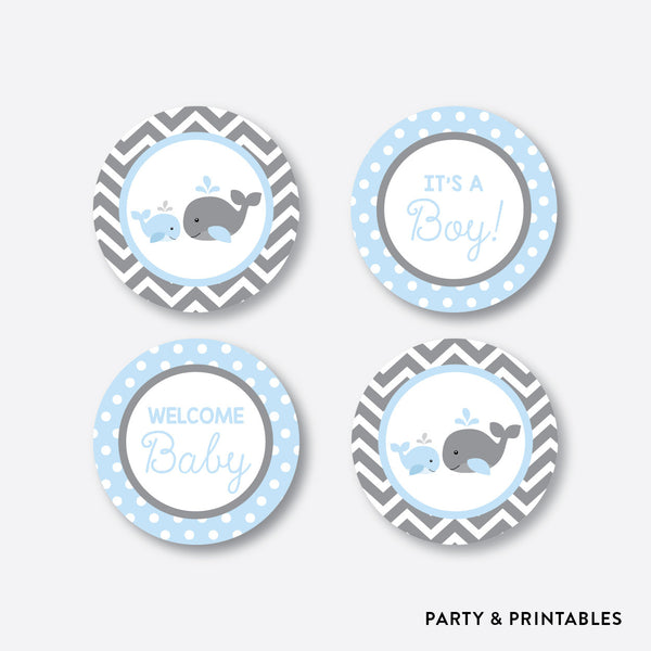 Whale Cupcake Toppers / Non-Personalized / Instant Download (SBS.51), party printables - Party and Printables