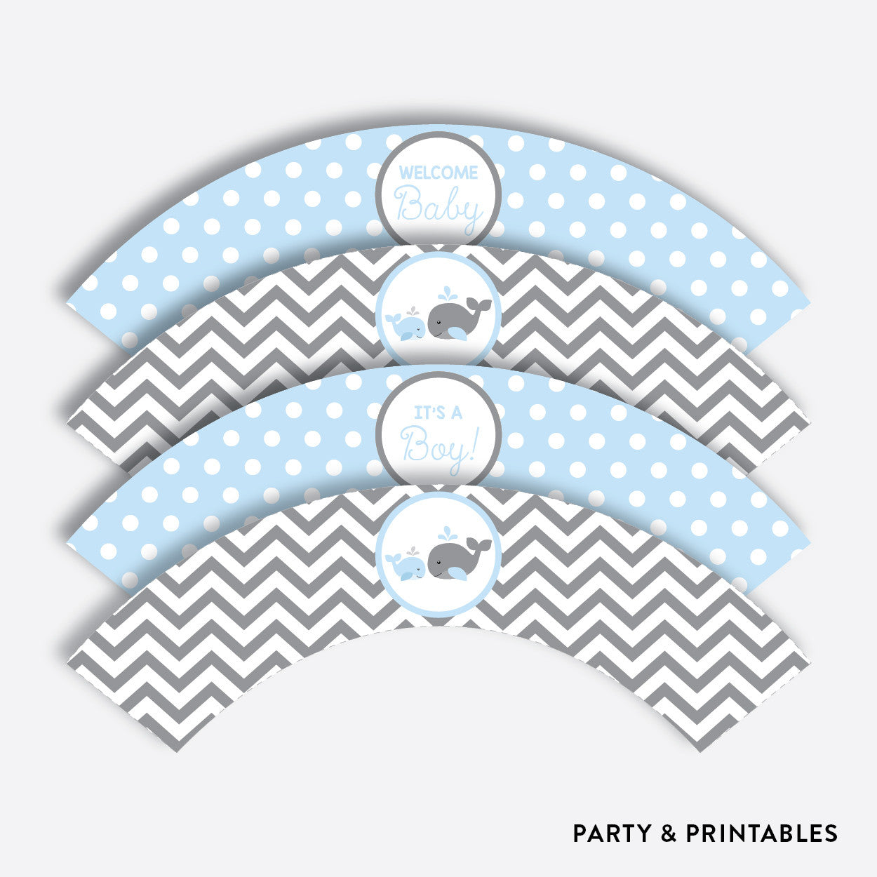 Whale Cupcake Wrappers / Non-Personalized / Instant Download (SBS.51), party printables - Party and Printables