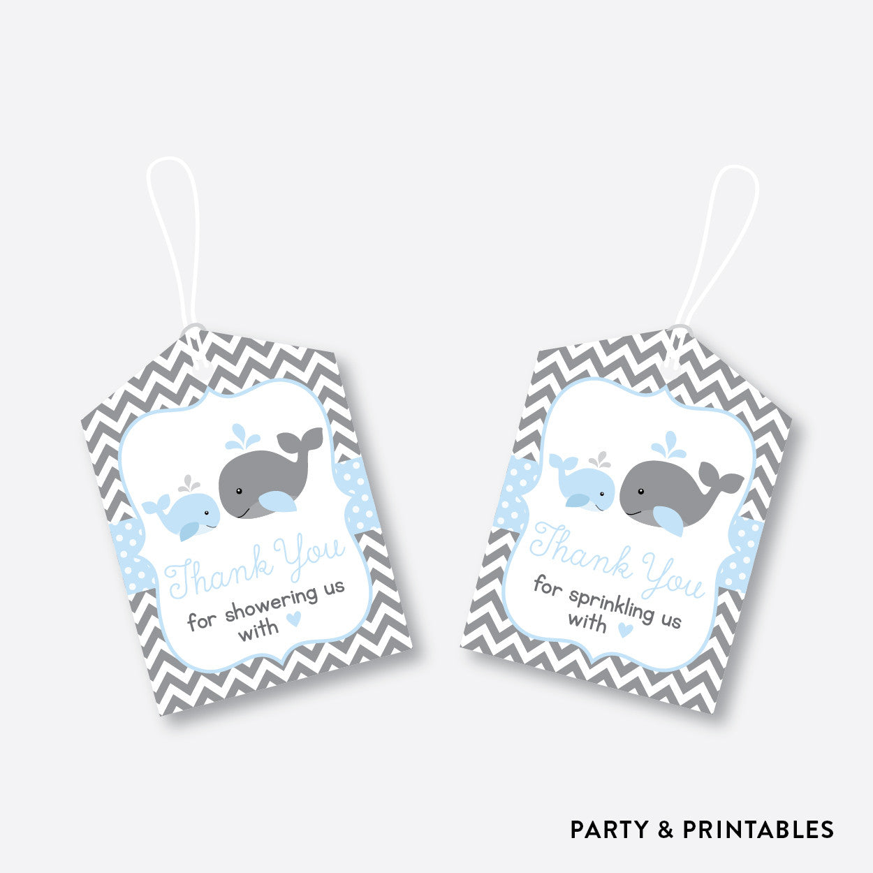 Whale Favor Tags / Non-Personalized / Instant Download (SBS.51), party printables - Party and Printables