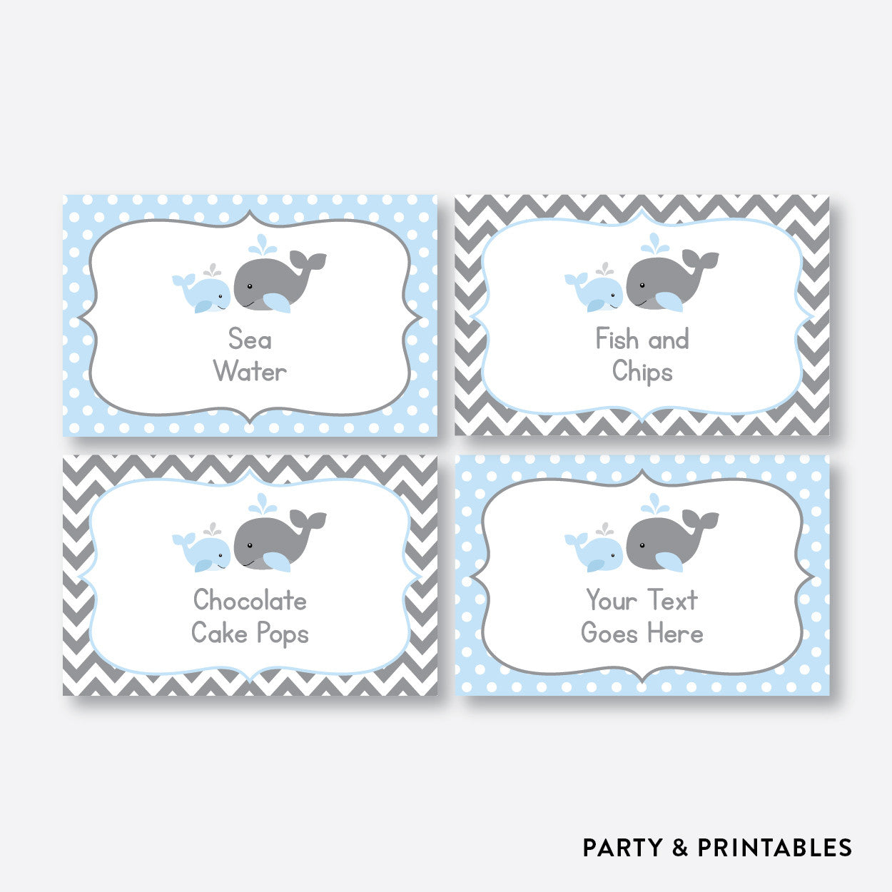 Whale Food Labels / Editable / Instant Download (SBS.51), party printables - Party and Printables