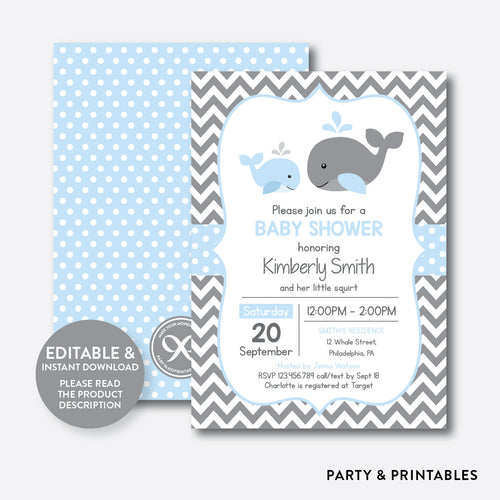 Whale Baby Shower Invitation / Editable / Instant Download (SBS.51)