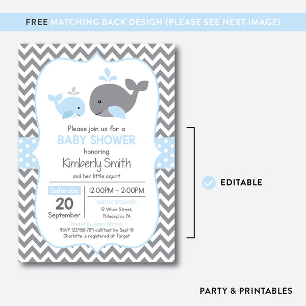 Whale Baby Shower Invitation / Editable / Instant Download (SBS.51), invitation - Party and Printables