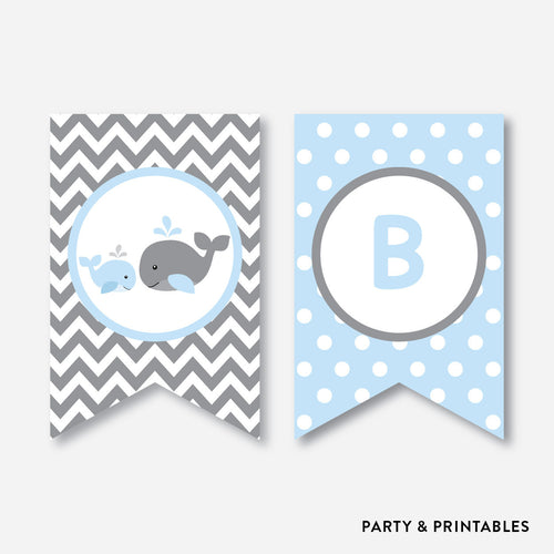 Whale Party Banner / Baby Shower Banner / Non-Personalized / Instant Download (SBS.51)