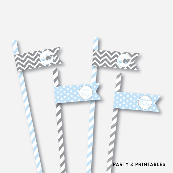 Whale Straw Flags / Non-Personalized / Instant Download (SBS.51), party printables - Party and Printables