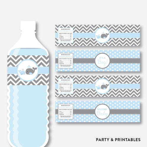 Whale Water Bottle Labels / Non-Personalized / Instant Download (SBS.51)