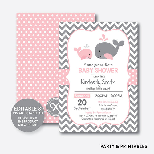 Whale Baby Shower Invitation / Editable / Instant Download (SBS.52)