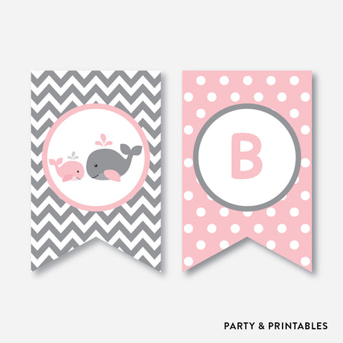 Whale Party Banner / Baby Shower Banner / Non-Personalized / Instant Download (SBS.52)