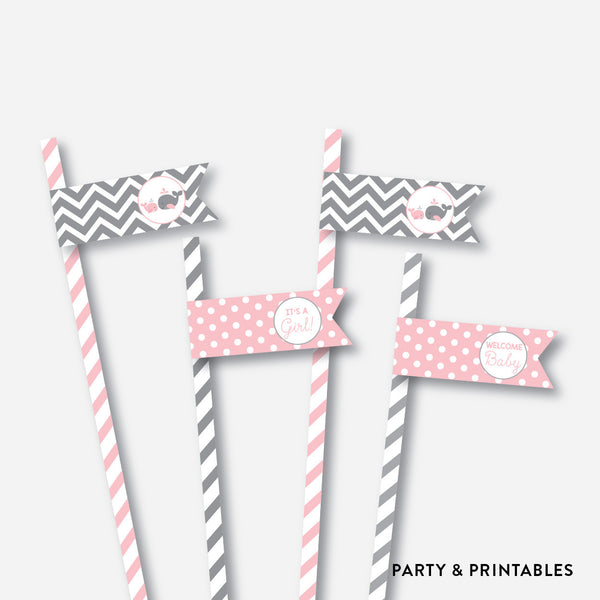 Whale Straw Flags / Non-Personalized / Instant Download (SBS.52), party printables - Party and Printables