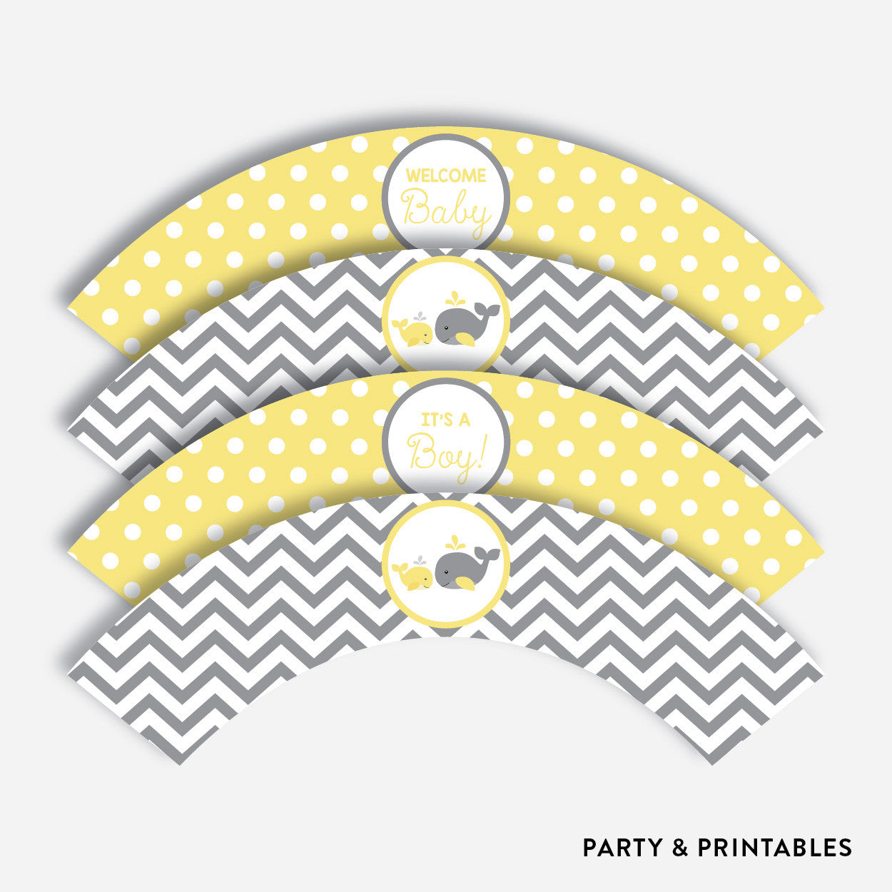 Whale Cupcake Wrappers / Non-Personalized / Instant Download (SBS.53), party printables - Party and Printables