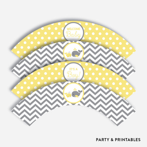 Whale Cupcake Wrappers / Non-Personalized / Instant Download (SBS.53)