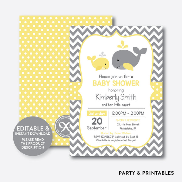 Whale Baby Shower Invitation / Editable / Instant Download (SBS.53), invitation - Party and Printables