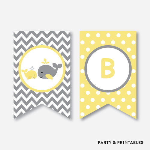 Whale Party Banner / Baby Shower Banner / Non-Personalized / Instant Download (SBS.53)