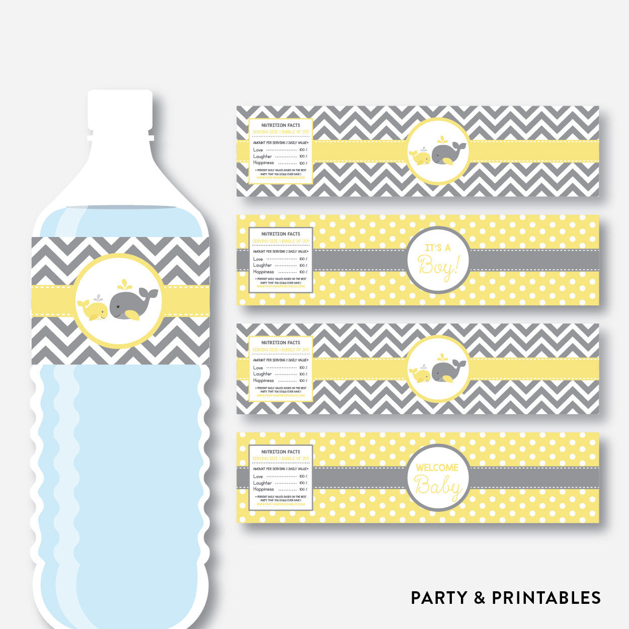 Whale Water Bottle Labels / Non-Personalized / Instant Download (SBS.53), party printables - Party and Printables