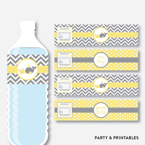 Whale Water Bottle Labels / Non-Personalized / Instant Download (SBS.53)