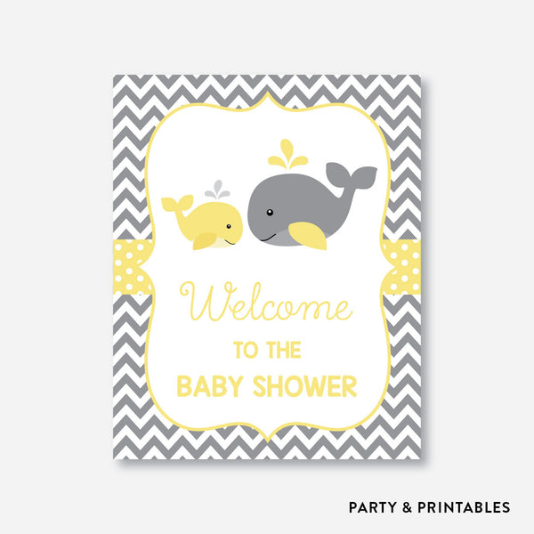 Whale Welcome Sign / Non-Personalized / Instant Download (SBS.53), party printables - Party and Printables