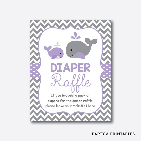 Whale Diaper Raffle / Non-Personalized / Instant Download (SBS.54), party printables - Party and Printables