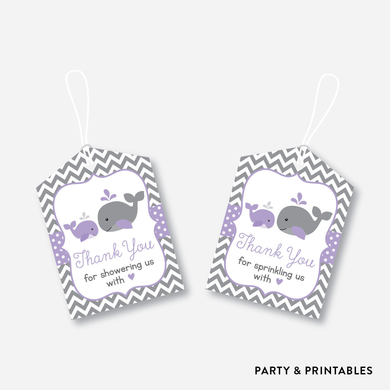 Whale Favor Tags / Non-Personalized / Instant Download (SBS.54), party printables - Party and Printables