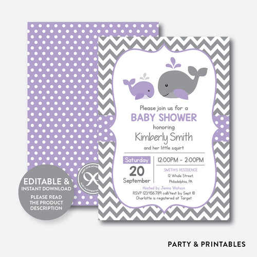 Whale Baby Shower Invitation / Editable / Instant Download (SBS.54)