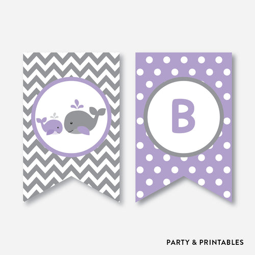Whale Party Banner / Baby Shower Banner / Non-Personalized / Instant Download (SBS.54)