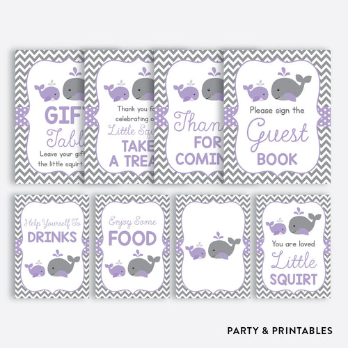Whale Party Signs / Non-Personalized / Instant Download (SBS.54)