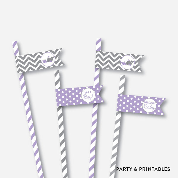 Whale Straw Flags / Non-Personalized / Instant Download (SBS.54), party printables - Party and Printables
