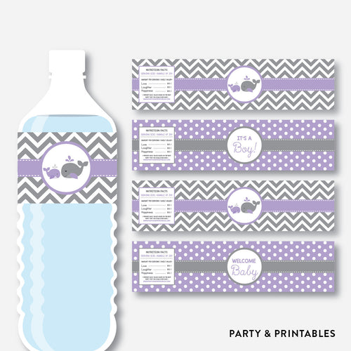 Whale Water Bottle Labels / Non-Personalized / Instant Download (SBS.54)