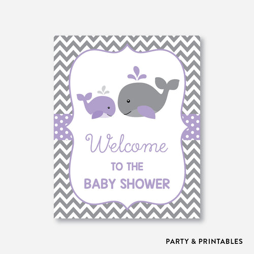 Whale Welcome Sign / Non-Personalized / Instant Download (SBS.54)