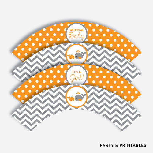 Whale Cupcake Wrappers / Non-Personalized / Instant Download (SBS.55)