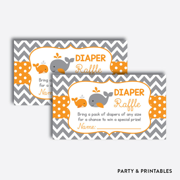 Whale Diaper Raffle / Non-Personalized / Instant Download (SBS.55), party printables - Party and Printables