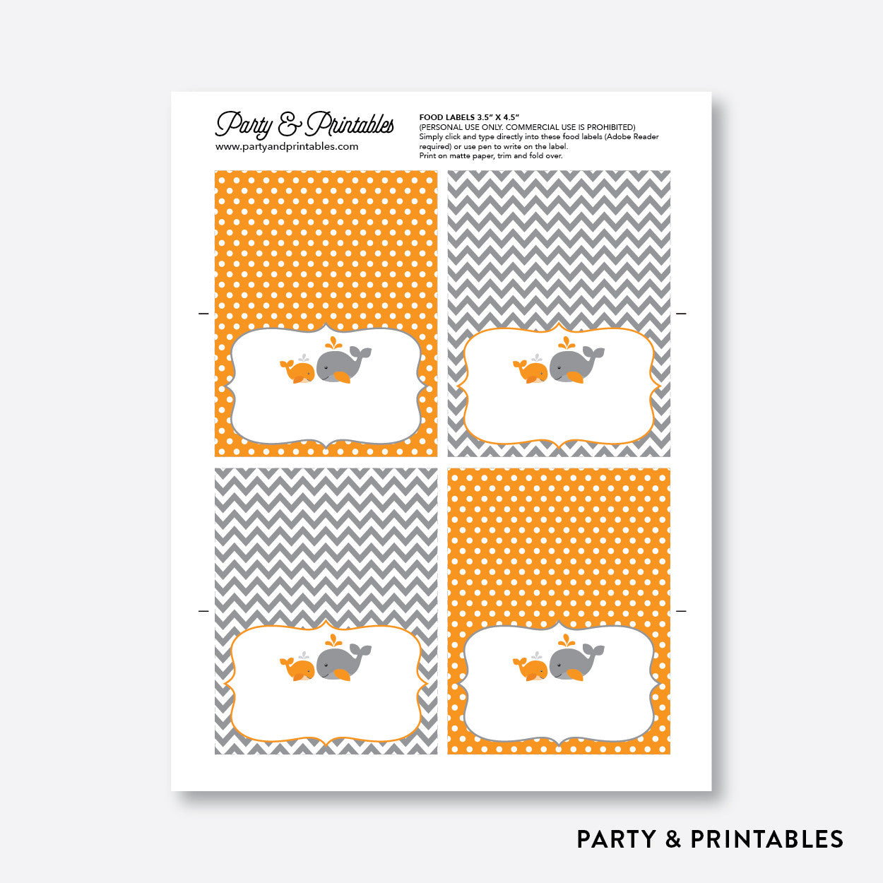 Whale Food Labels / Editable / Instant Download (SBS.55), party printables - Party and Printables