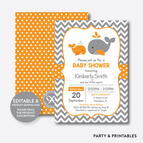 Whale Baby Shower Invitation / Editable / Instant Download (SBS.55)