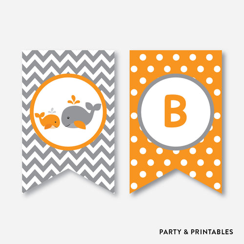 Whale Party Banner / Baby Shower Banner / Non-Personalized / Instant Download (SBS.55)