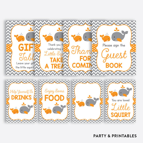 Whale Party Signs / Non-Personalized / Instant Download (SBS.55)