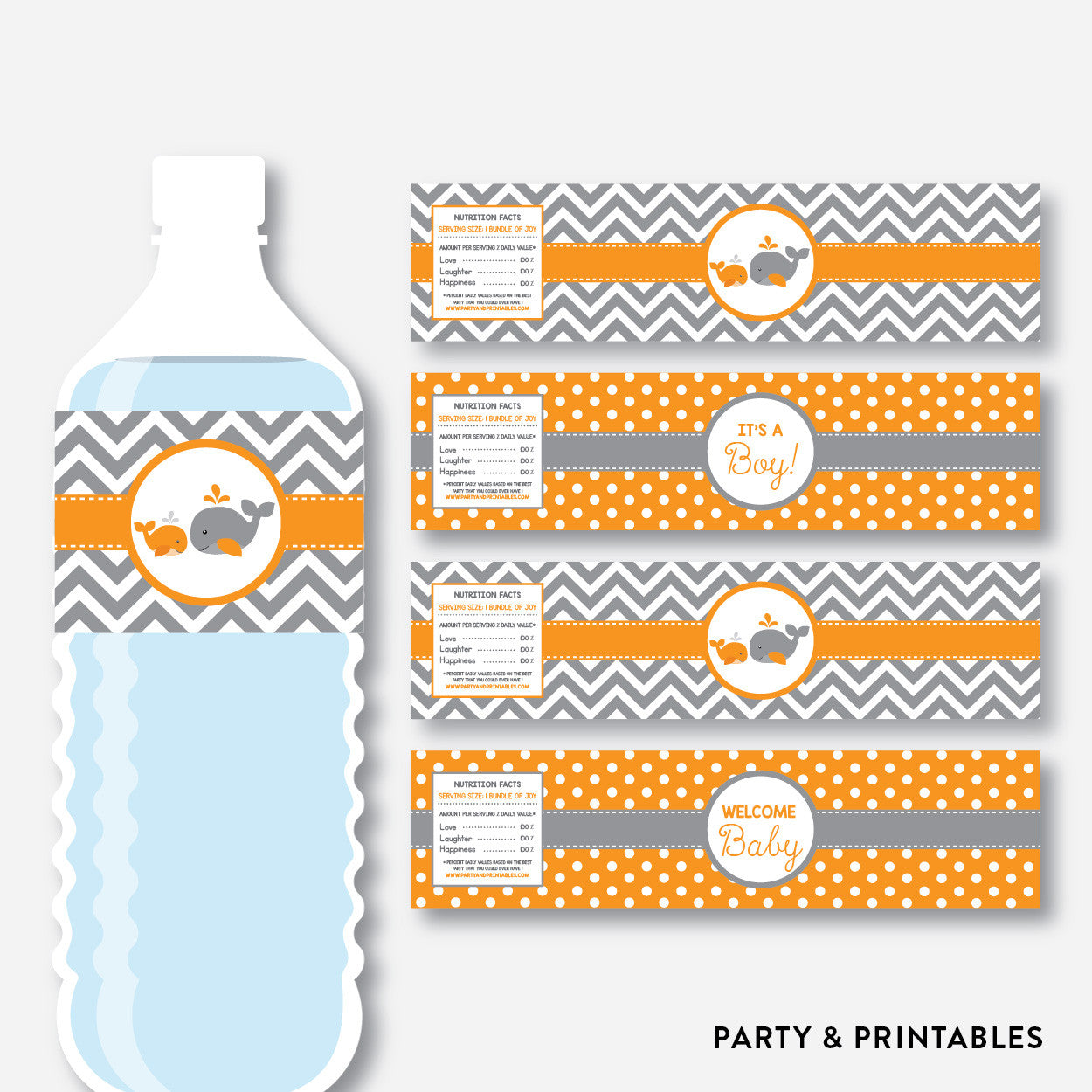 Whale Water Bottle Labels / Non-Personalized / Instant Download (SBS.55), party printables - Party and Printables