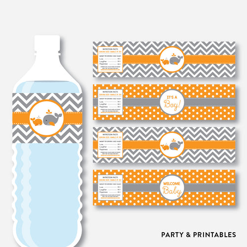 Whale Water Bottle Labels / Non-Personalized / Instant Download (SBS.55)