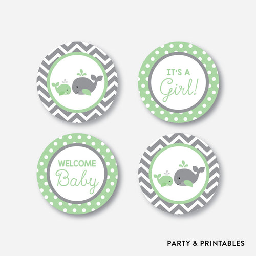 Whale Cupcake Toppers / Non-Personalized / Instant Download (SBS.56)