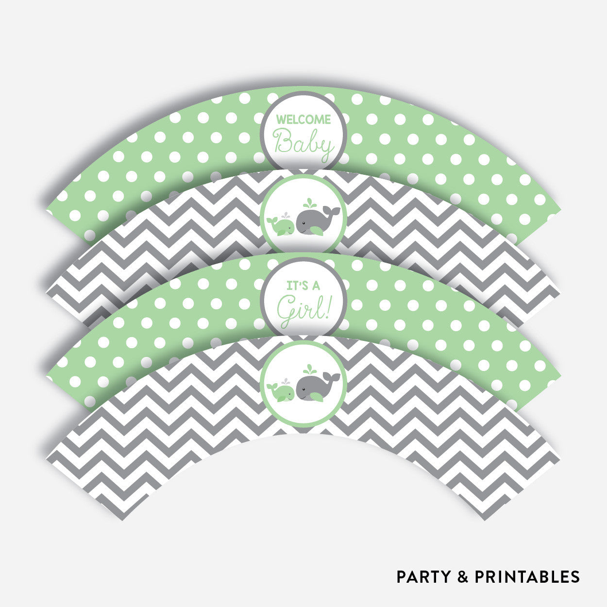 Whale Cupcake Wrappers / Non-Personalized / Instant Download (SBS.56), party printables - Party and Printables